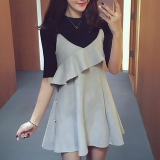 Set: Elbow Sleeve Ribbed Knit Top + A-Line Pinafore Dress 1053038391