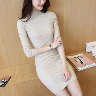 Ribbed Mock-neck Long-Sleeve Knit Dress 1053993110