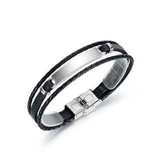 Simple Personality Silver 316l Stainless Steel Geometric Multilayer Leather Bangle Silver - One Size
