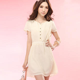 Buy Tokyo Fashion Short-Sleeve Buttoned Chiffon Dress 1022996734