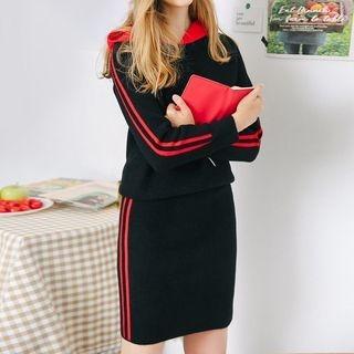 Set: Striped Trim Knit Hoodie + Knit Skirt 1063537277
