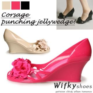 Buy Wifky Rosette Accent Jelly Wedge Pumps 1022884614