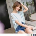 Solid Coloured Ribbon Tie Chiffon Top 1596