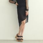 Asymmetric Hem Chiffon Pencil Skirt 1596