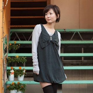 Picture of ageha@shibuya Bow Accent Sleeveless Top Charcoal Gray - One Size 1022149445 (ageha@shibuya Tees, Womens Tees, Japan Tees, Causal Tops)