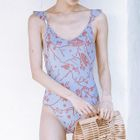 Floral Swimsuit Blue - XL 1596