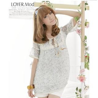 Buy LOYER.mod Square Neck Floral Print Dress 1022596804