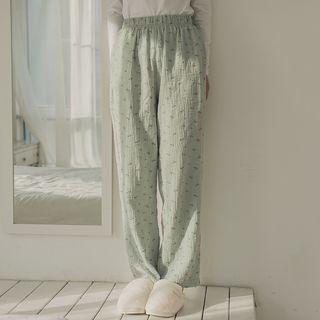 Image of Couple Matching Patterned Pajama Pants