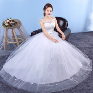 Image of Floral Embroidered Sleeveless Wedding Ball Gown