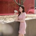 Square-Neck Puff-Sleeve Sheath Dress 1596