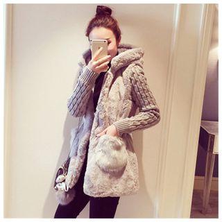 Image of Knit-Sleeve Hooded Furry Long Jacket