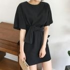 Short-Sleeve Tie-Waist A-Line Mini Dress 1596