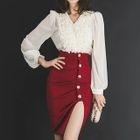 Set: Chiffon Blouse + Pencil Skirt 1596