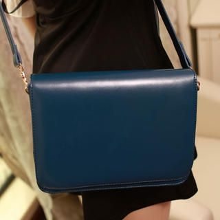 Faux-Leather Flap Crossbody Bag