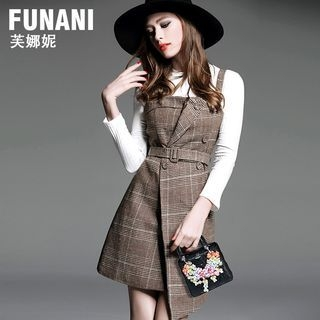 Set: Rib Knit Top + Plaid Asymmetrical Pinafore Dress 1062587402