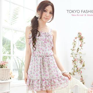 Buy Tokyo Fashion Ruffle Floral Chiffon Sundress 1022911450