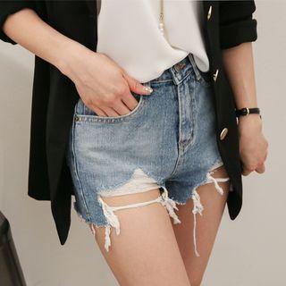 Distressed Washed Denim Shorts 1058344183