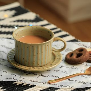 Striped Coffee Cup with Saucer 1066772726