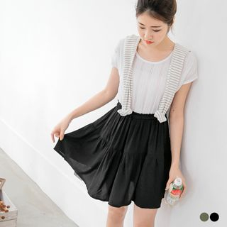 Short-Sleeve Mock Two-Piece Dress