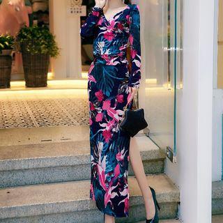 Image of Short-Sleeve Printed Maxi Sheath Dress / Long-Sleeve Printed Maxi Sheath Dress