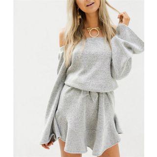Off Shoulder Long Sleeve Knit Dress 1061644663
