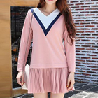 Color Block Pleated Hem Long Sleeve Dress 1596