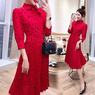 Rosewind Heart Long-Sleeve Midi Chiffon Dress