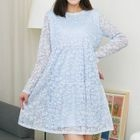 Maternity Lace Trim Long Sleeve Dress 1596