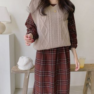 Image of Cable Knit Vest / Plaid Long-Sleeve A-Line Midi Dress