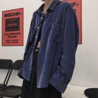 Image of Corduroy Shirt Jacket Dark Blue - One Size