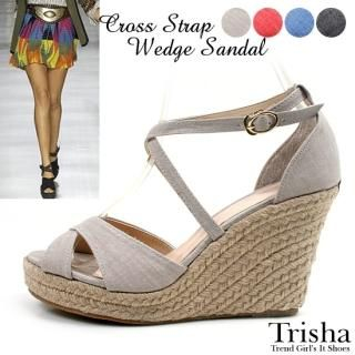 Buy Trisha Canvas Wedge Sandals 1022896299