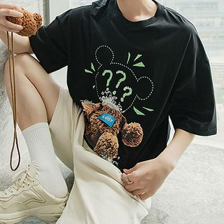 Image of Bear Print Elbow-Sleeve T-Shirt / Bear Crossbody Bag / Set