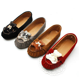 "Buy KAWO Rhinestone ""Bear"" Ruched Flats 1022788217"