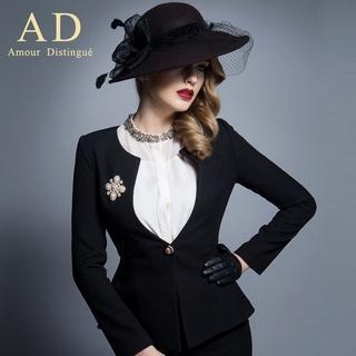 Image of Embellished Single-Button Jacket / Pencil Skirt / Set