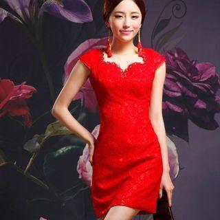 Cap-Sleeve Sheath Lace Party Dress 1049036990