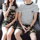 Couple Matching Set: Striped Short Sleeve T-Shirt / Camo Shorts/ Pinafore Dress 1596