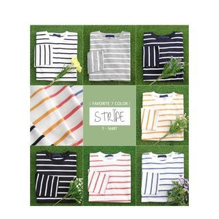Set of 2: Round-Neck Stripe T-Shirt 1058598784