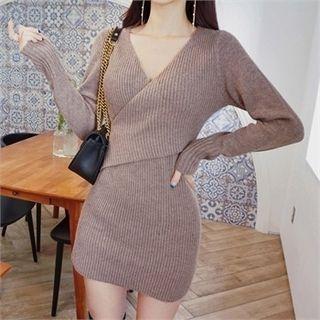 Surplice-Wrap Ribbed Dress 1063641579