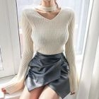 Choker-Neck Bell-Sleeve Rib Sweater 1596