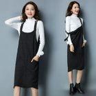 Set: Mock Neck Long Sleeve Knit Top + Plain Midi Pinafore Dress 1596