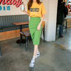 Colored Ribbed Knit Skirt 1596