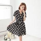 Polka-Dot V-Neck Short-Sleeve A-Line Dress 1596