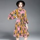 3/4-Sleeve Printed Tie-Waist Pleated Dress 1596