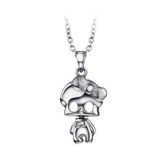 Halloween Lovely 925 Sterling Silver Skeletons Pendant with Necklace