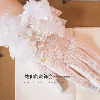 Bow-Accent Lace Motorcycle Gloves 1062116633