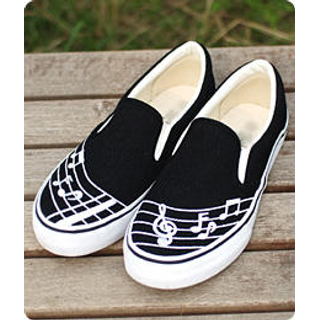 Buy Sechuna Clef and Notes Canvas Slip-Ons 1005045307