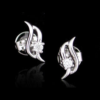 Image For 18K White Gold Earrings with Diamonds