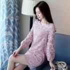 Long-Sleeve Shift Lace Dress 1596