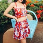 Set: Floral Print Tankini + Swim Skirt 1596