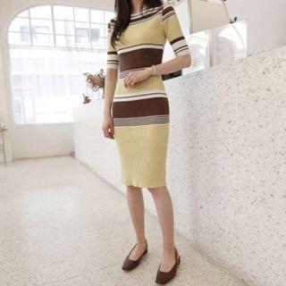 Boat-Neck Color-Block Ribbed Dress 1065652400